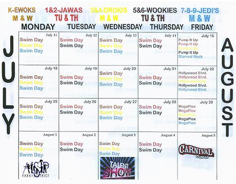 Summer Day Camp Schedule 2