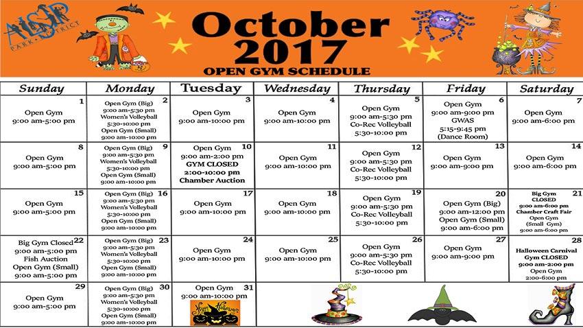Open Gym Schedule October 2017